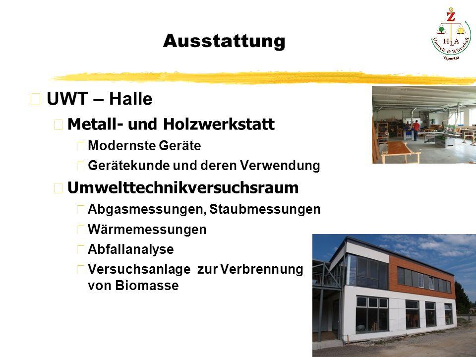 Ausstattung UWT – Halle Metall- und Holzwerkstatt Modernste Geräte Gerätekunde und deren Verwendung Umwelttechnikversuchsraum Abgasmessungen, Staubmes