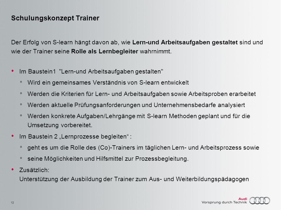 13 Schulungskonzept Trainer Der Erfolg von S-learn hängt davon ab, wie Lern-und Arbeitsaufgaben gestaltet sind und wie der Trainer seine Rolle als Ler
