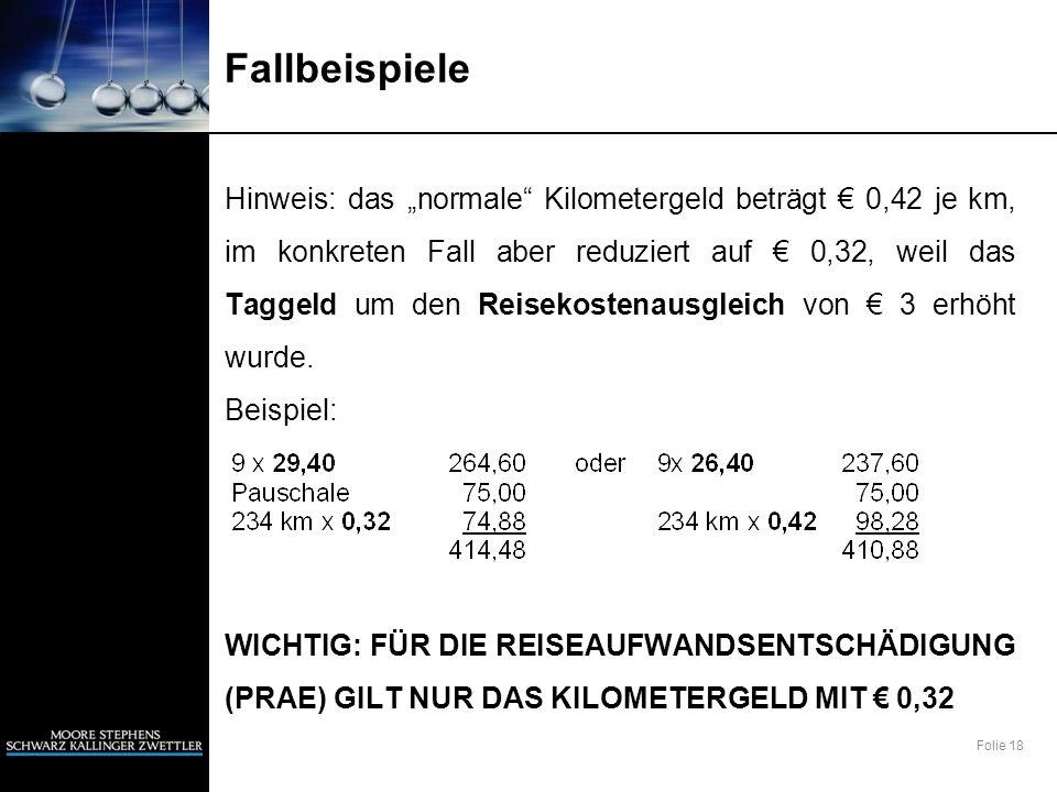 Folie 18 Fallbeispiele Hinweis: das normale Kilometergeld beträgt 0,42 je km, im konkreten Fall aber reduziert auf 0,32, weil das Taggeld um den Reise