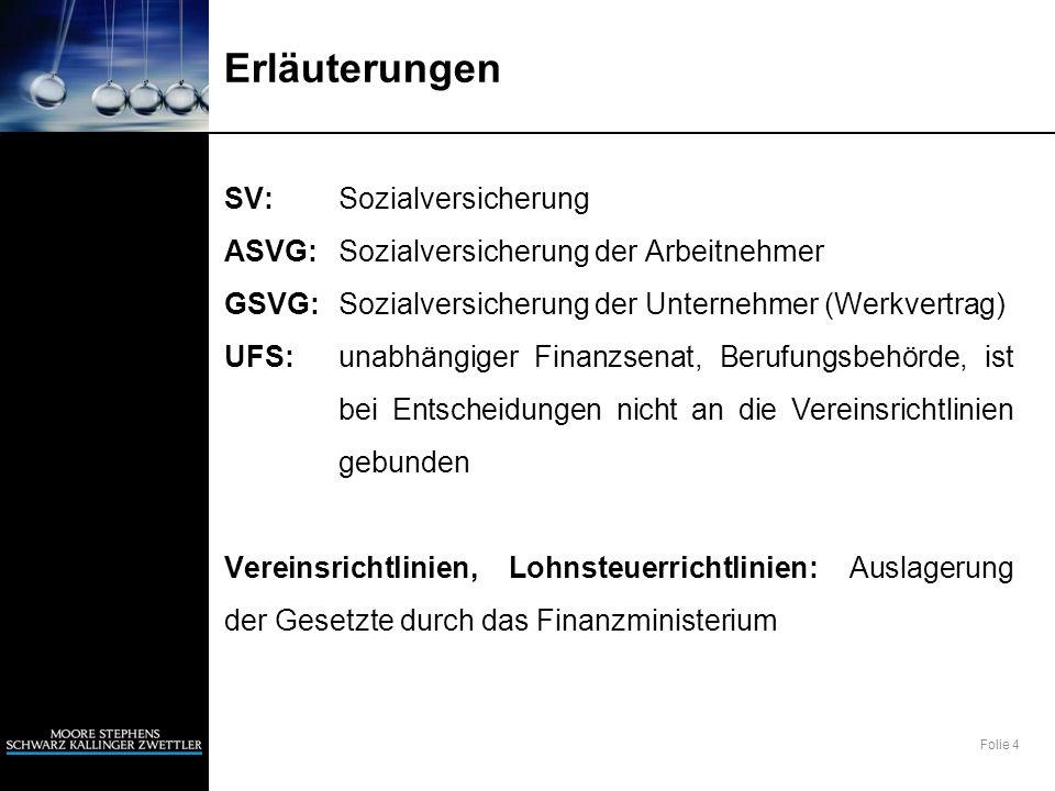 Folie 4 Erläuterungen SV:Sozialversicherung ASVG:Sozialversicherung der Arbeitnehmer GSVG:Sozialversicherung der Unternehmer (Werkvertrag) UFS:unabhän