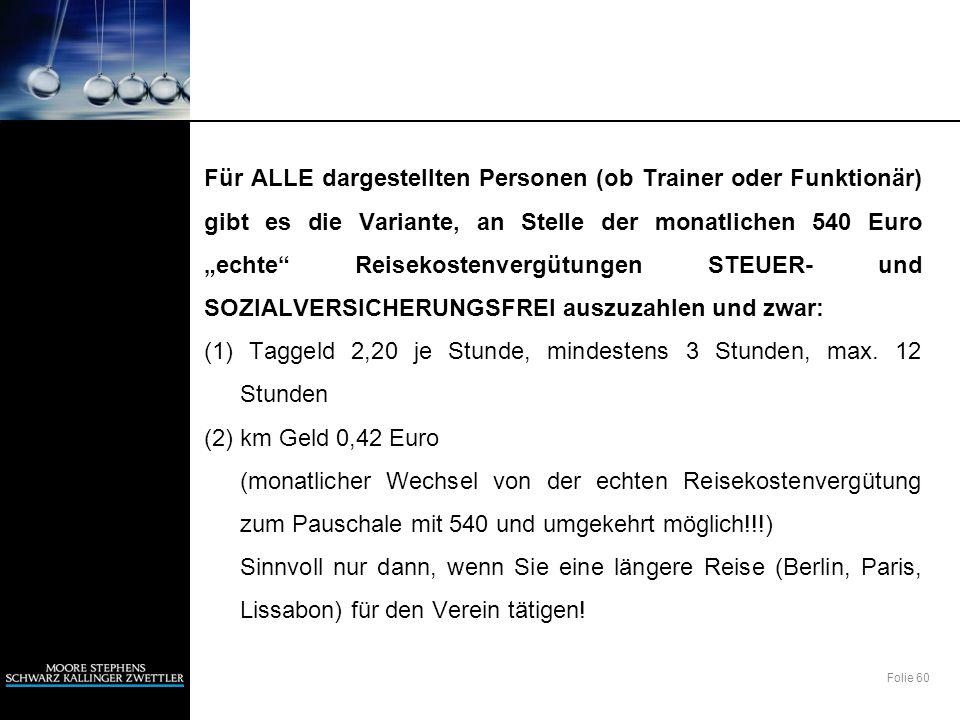 Folie 60 Für ALLE dargestellten Personen (ob Trainer oder Funktionär) gibt es die Variante, an Stelle der monatlichen 540 Euro echte Reisekostenvergüt
