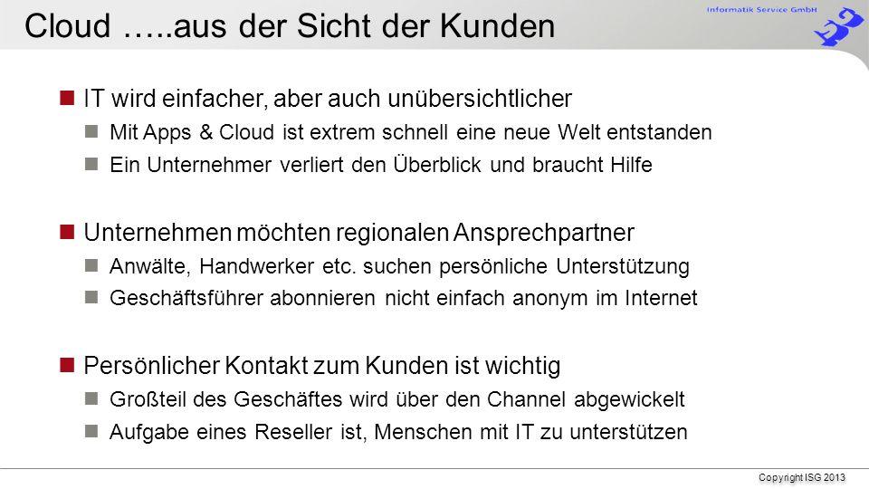 Copyright ISG 2013 Vorgehen – 2 - Vor- und Nachteile der räumlichen Trennung abwägen Wie lange kann ich arbeiten ohne die Cloud .