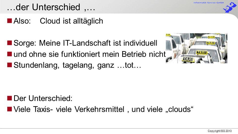 Copyright ISG 2013 Cloud . Wir machen es täglich.