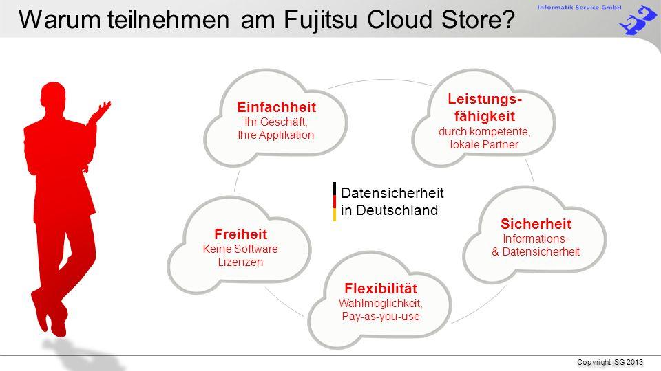 Copyright ISG 2013 Voraussetzungen für eine erfolgreiche Cloud Auf der Erde: Stromversorgung (USV, Notstromversorgung) Transport: Router auf der Erde (Qualität, Reservegerät, Cluster) Leitung in die Cloud, z.B.