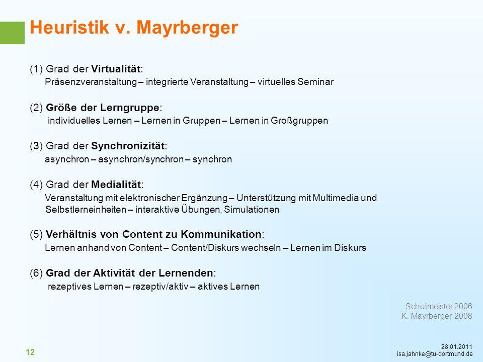 28.01.2011 isa.jahnke@tu-dortmund.de 12 (1) Grad der Virtualität: Präsenzveranstaltung – integrierte Veranstaltung – virtuelles Seminar (2) Größe der
