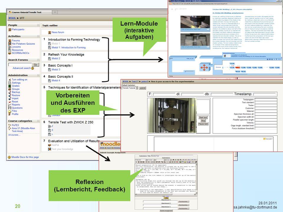 28.01.2011 isa.jahnke@tu-dortmund.de 20 Lern-Module (interaktive Aufgaben) Reflexion (Lernbericht, Feedback) Vorbereiten und Ausführen des EXP