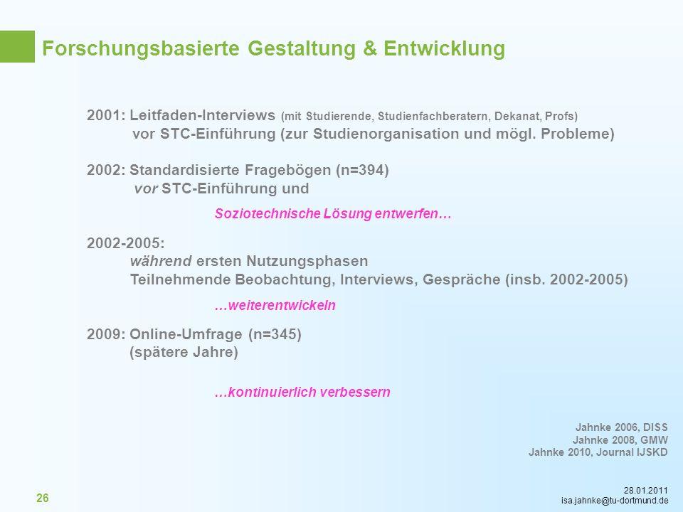 28.01.2011 isa.jahnke@tu-dortmund.de 26 2001: Leitfaden-Interviews (mit Studierende, Studienfachberatern, Dekanat, Profs) vor STC-Einführung (zur Stud