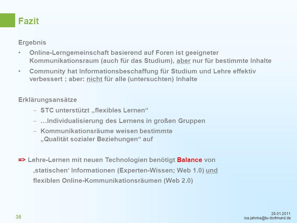28.01.2011 isa.jahnke@tu-dortmund.de 35 Ergebnis Online-Lerngemeinschaft basierend auf Foren ist geeigneter Kommunikationsraum (auch für das Studium),
