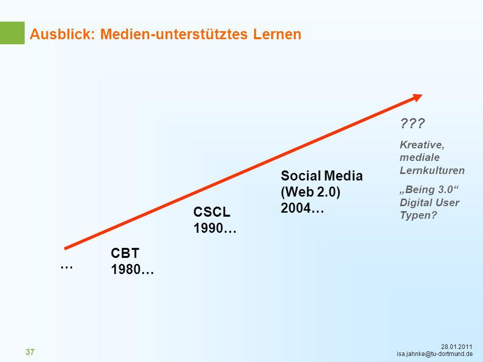 28.01.2011 isa.jahnke@tu-dortmund.de 37 CBT 1980… CSCL 1990… Social Media (Web 2.0) 2004… … ??? Kreative, mediale Lernkulturen Being 3.0 Digital User