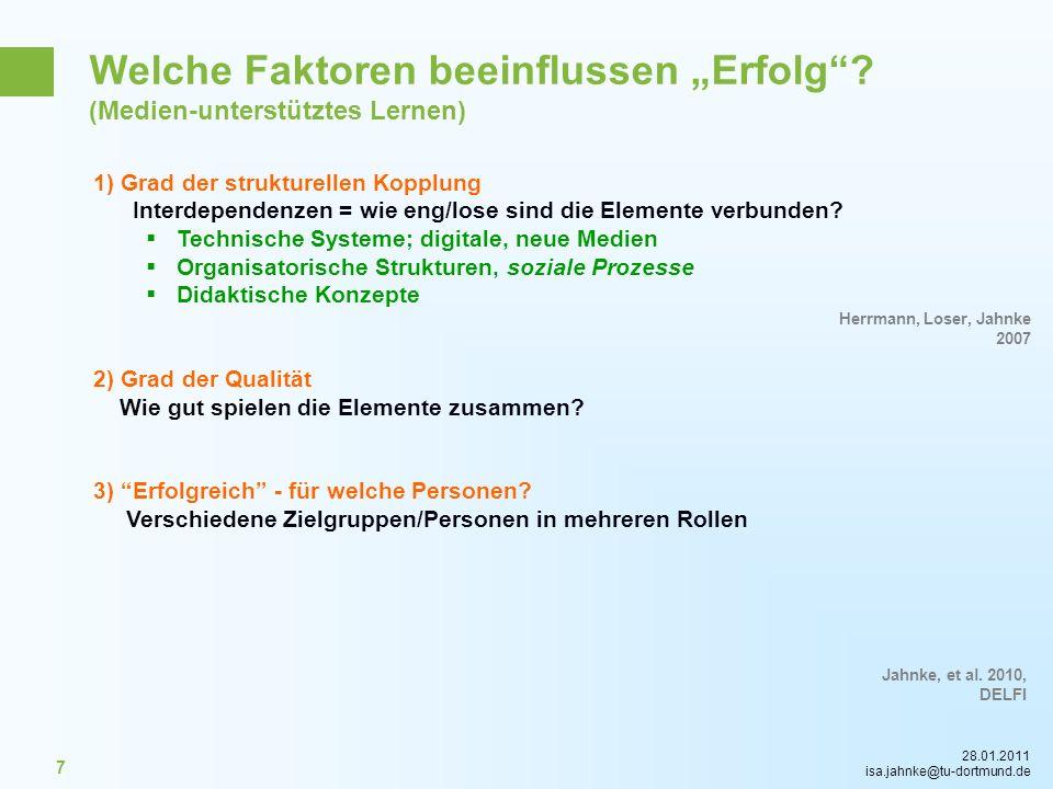 28.01.2011 isa.jahnke@tu-dortmund.de 7 1) Grad der strukturellen Kopplung Interdependenzen = wie eng/lose sind die Elemente verbunden? Technische Syst