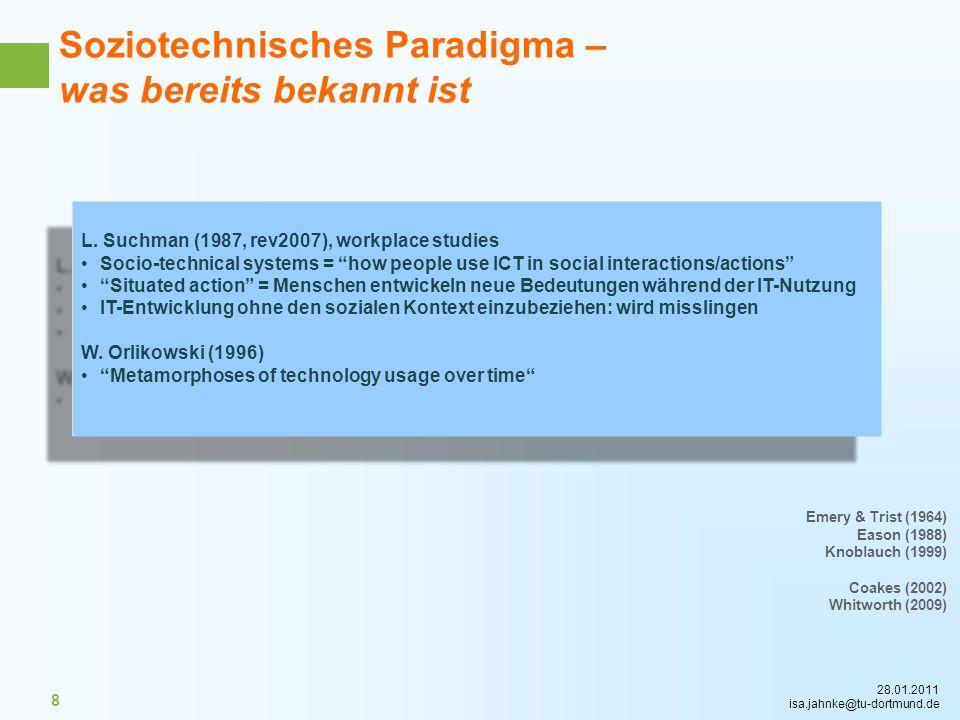 28.01.2011 isa.jahnke@tu-dortmund.de 8 Soziotechnisches Paradigma – was bereits bekannt ist L. Suchman (1987, rev2007), workplace studies Socio-techni