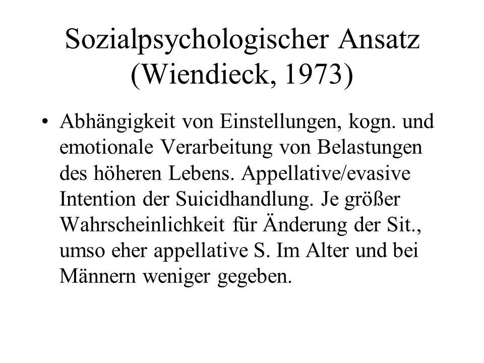 Sozialpsychologischer Ansatz (Wiendieck, 1973) Abhängigkeit von Einstellungen, kogn. und emotionale Verarbeitung von Belastungen des höheren Lebens. A