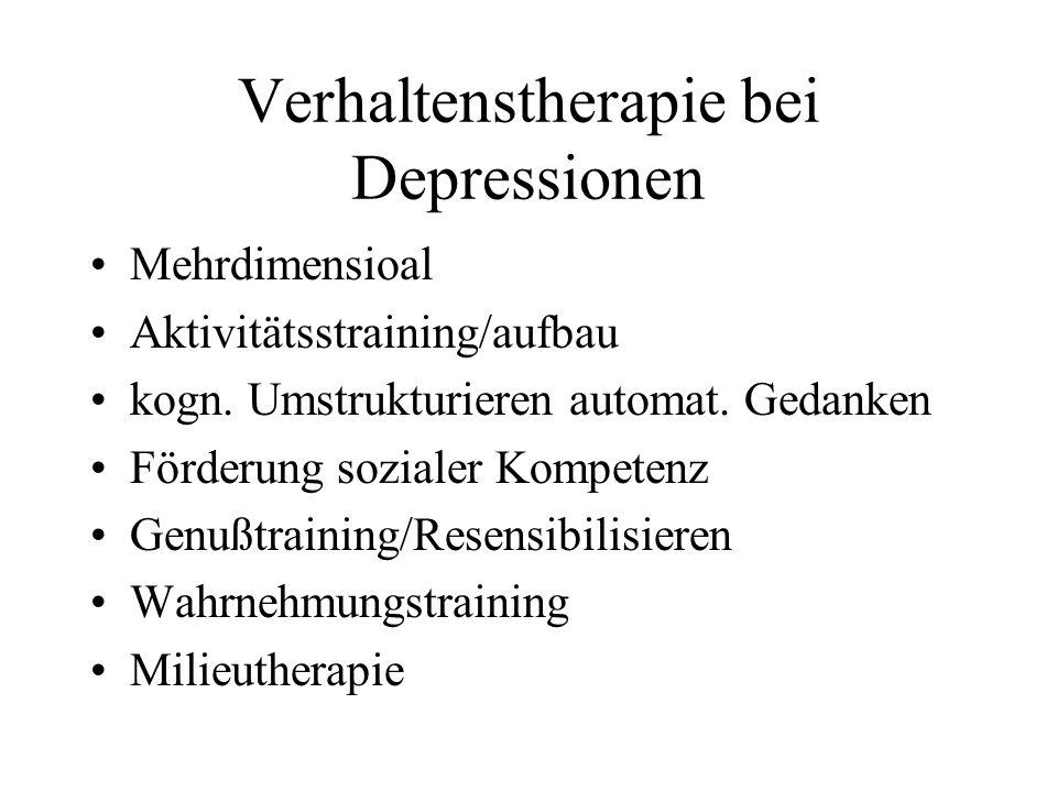 Verhaltenstherapie bei Depressionen Mehrdimensioal Aktivitätsstraining/aufbau kogn. Umstrukturieren automat. Gedanken Förderung sozialer Kompetenz Gen