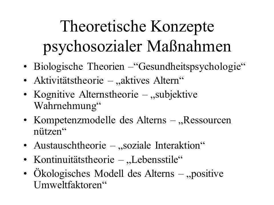 Theoretische Konzepte psychosozialer Maßnahmen Biologische Theorien –Gesundheitspsychologie Aktivitätstheorie – aktives Altern Kognitive Alternstheori