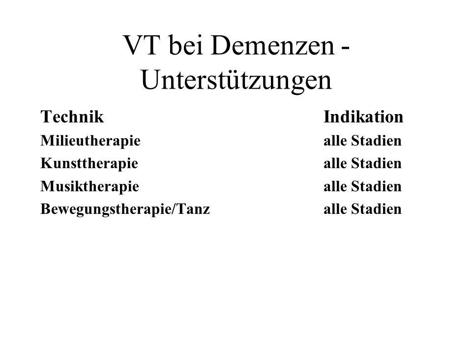VT bei Demenzen - Unterstützungen TechnikIndikation Milieutherapiealle Stadien Kunsttherapiealle Stadien Musiktherapiealle Stadien Bewegungstherapie/T