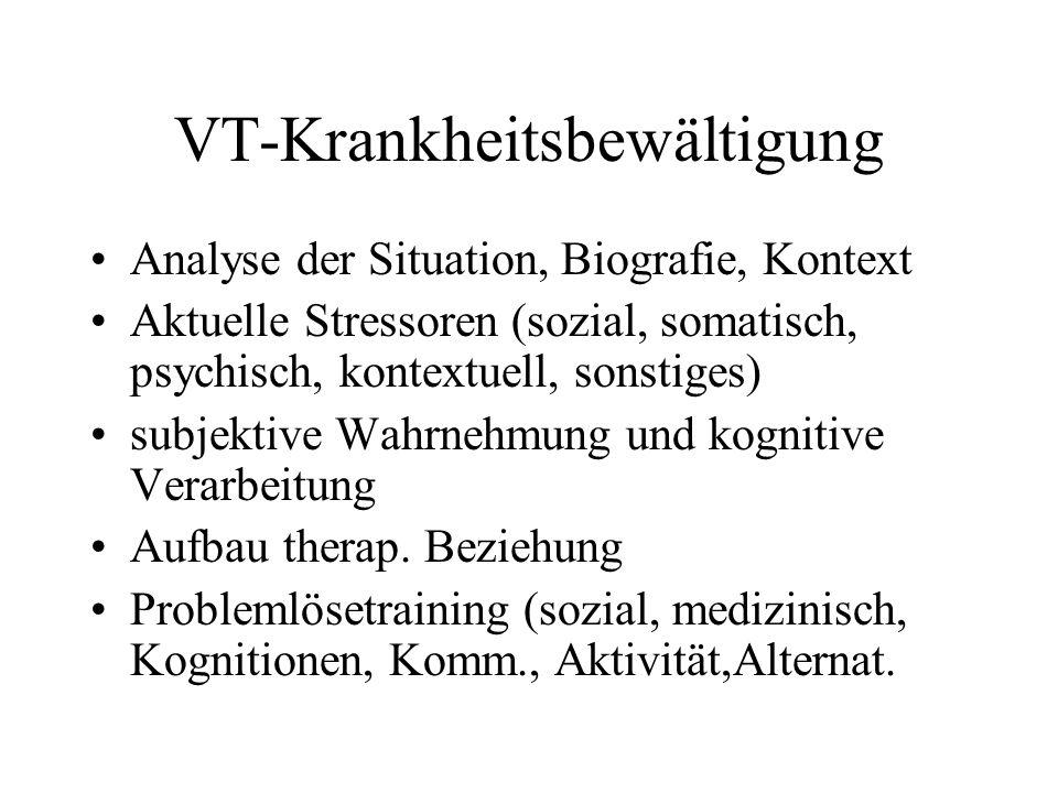 VT-Krankheitsbewältigung Analyse der Situation, Biografie, Kontext Aktuelle Stressoren (sozial, somatisch, psychisch, kontextuell, sonstiges) subjekti