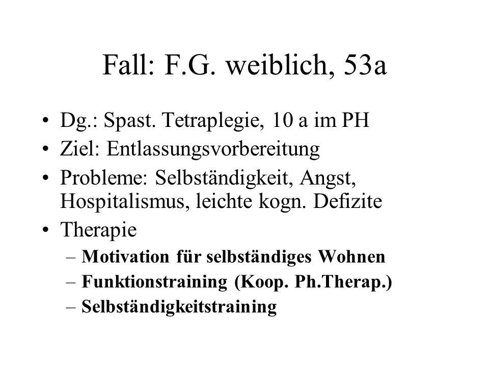 Fall: F.G. weiblich, 53a Dg.: Spast. Tetraplegie, 10 a im PH Ziel: Entlassungsvorbereitung Probleme: Selbständigkeit, Angst, Hospitalismus, leichte ko