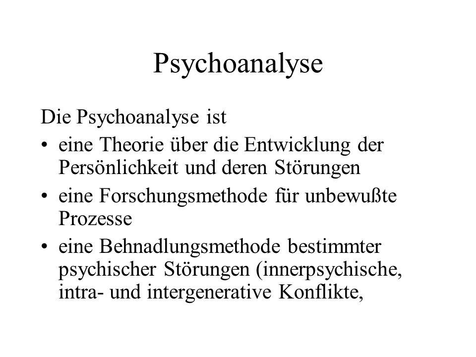 Psychoanalyse Die Psychoanalyse ist eine Theorie über die Entwicklung der Persönlichkeit und deren Störungen eine Forschungsmethode für unbewußte Proz
