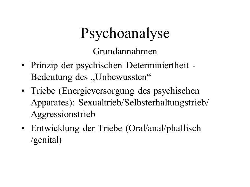 Psychoanalyse Grundannahmen Prinzip der psychischen Determiniertheit - Bedeutung des Unbewussten Triebe (Energieversorgung des psychischen Apparates):