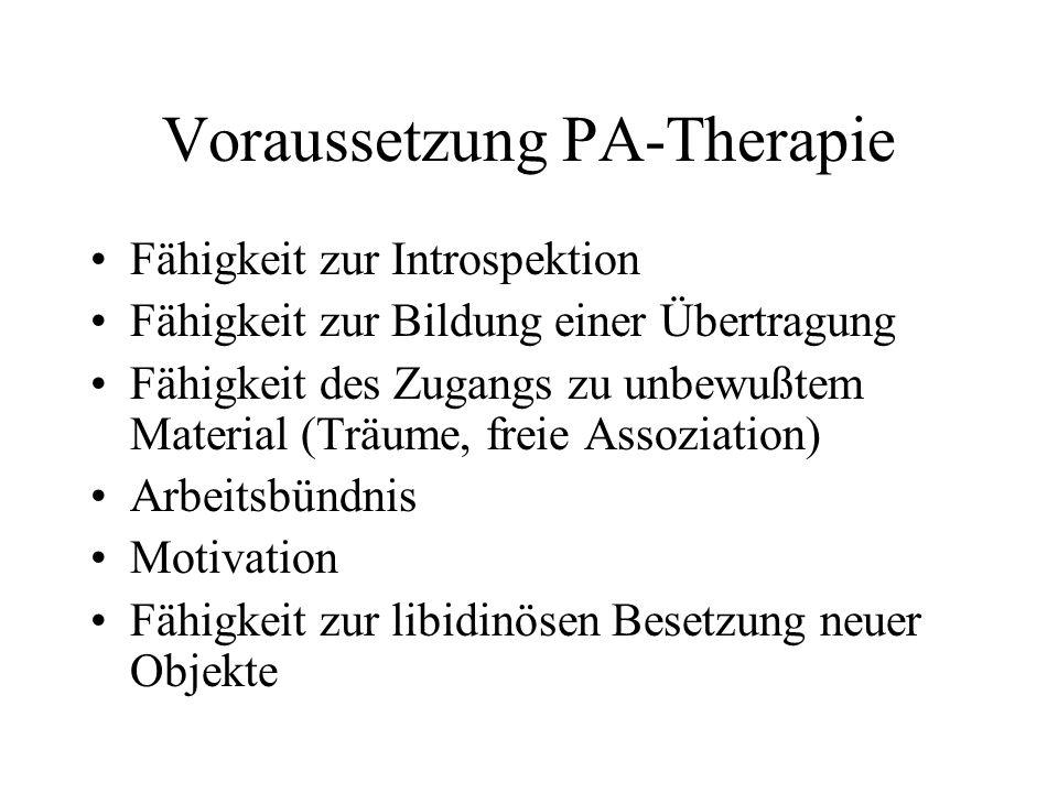 Voraussetzung PA-Therapie Fähigkeit zur Introspektion Fähigkeit zur Bildung einer Übertragung Fähigkeit des Zugangs zu unbewußtem Material (Träume, fr
