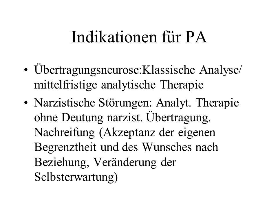 Indikationen für PA Übertragungsneurose:Klassische Analyse/ mittelfristige analytische Therapie Narzistische Störungen: Analyt. Therapie ohne Deutung