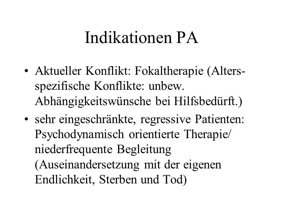 Indikationen PA Aktueller Konflikt: Fokaltherapie (Alters- spezifische Konflikte: unbew. Abhängigkeitswünsche bei Hilfsbedürft.) sehr eingeschränkte,