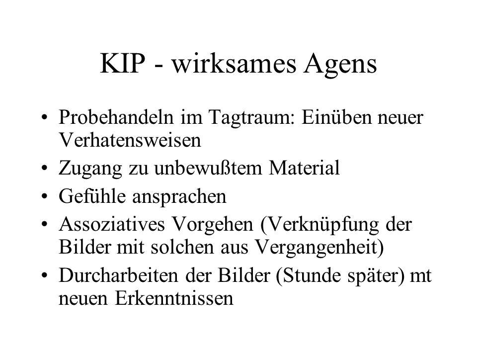KIP - wirksames Agens Probehandeln im Tagtraum: Einüben neuer Verhatensweisen Zugang zu unbewußtem Material Gefühle ansprachen Assoziatives Vorgehen (