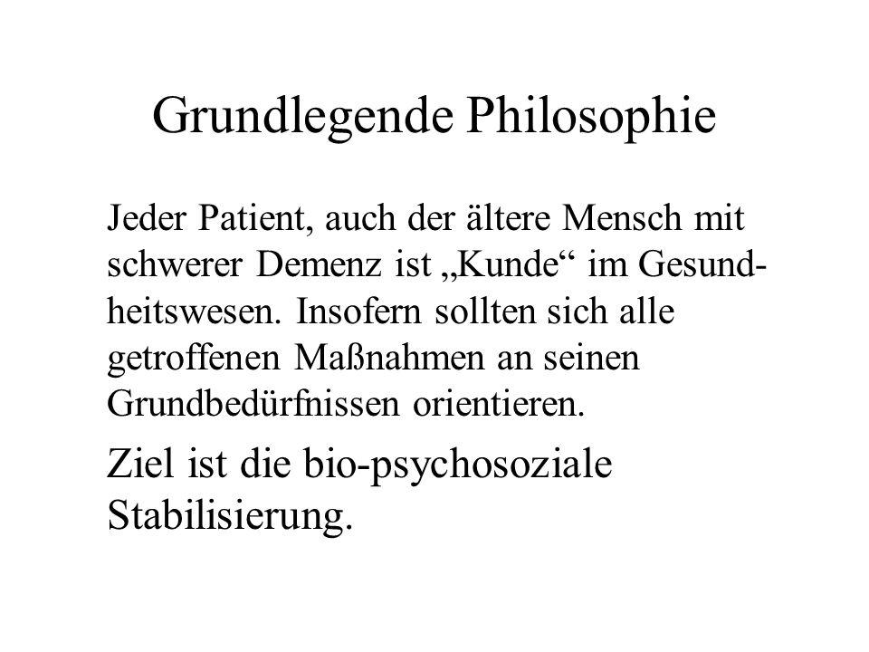 Grundlegende Philosophie Jeder Patient, auch der ältere Mensch mit schwerer Demenz ist Kunde im Gesund- heitswesen. Insofern sollten sich alle getroff