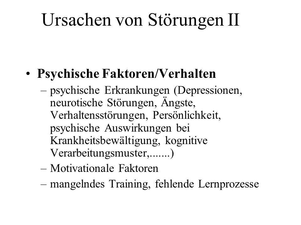 Ursachen von Störungen II Psychische Faktoren/Verhalten –psychische Erkrankungen (Depressionen, neurotische Störungen, Ängste, Verhaltensstörungen, Pe