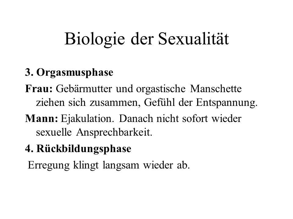 Biologie der Sexualität 3. Orgasmusphase Frau: Gebärmutter und orgastische Manschette ziehen sich zusammen, Gefühl der Entspannung. Mann: Ejakulation.