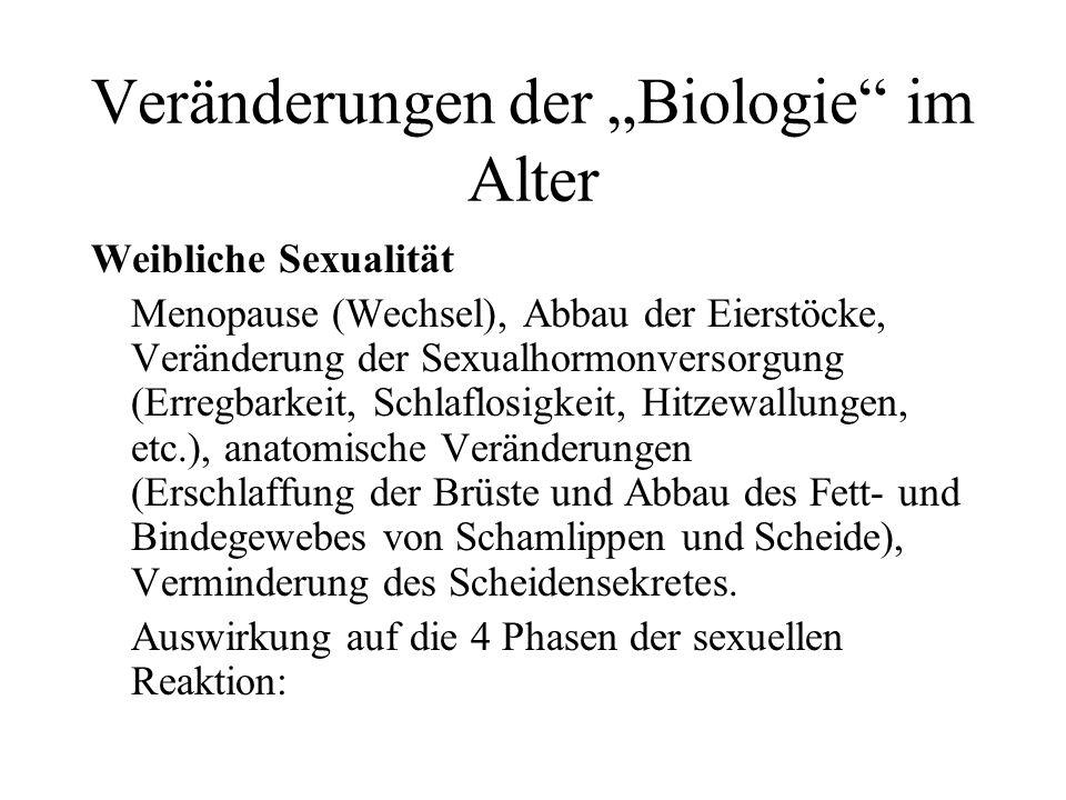 Veränderungen der Biologie im Alter Weibliche Sexualität Menopause (Wechsel), Abbau der Eierstöcke, Veränderung der Sexualhormonversorgung (Erregbarke