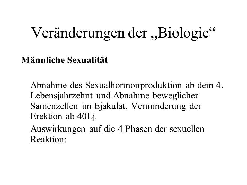 Veränderungen der Biologie Männliche Sexualität Abnahme des Sexualhormonproduktion ab dem 4. Lebensjahrzehnt und Abnahme beweglicher Samenzellen im Ej