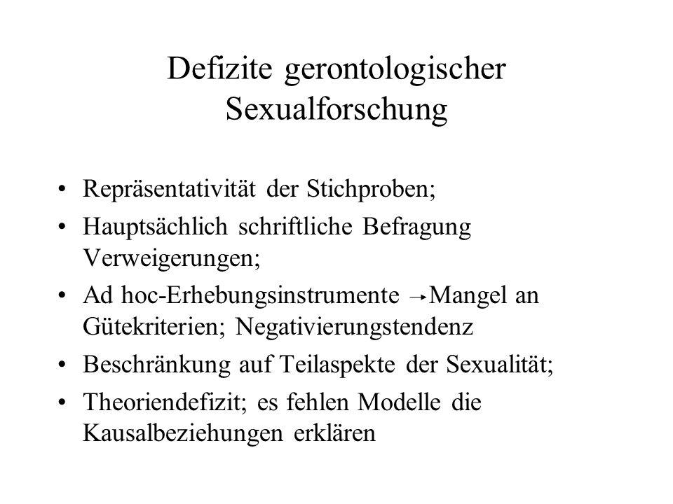Defizite gerontologischer Sexualforschung Repräsentativität der Stichproben; Hauptsächlich schriftliche Befragung Verweigerungen; Ad hoc-Erhebungsinst