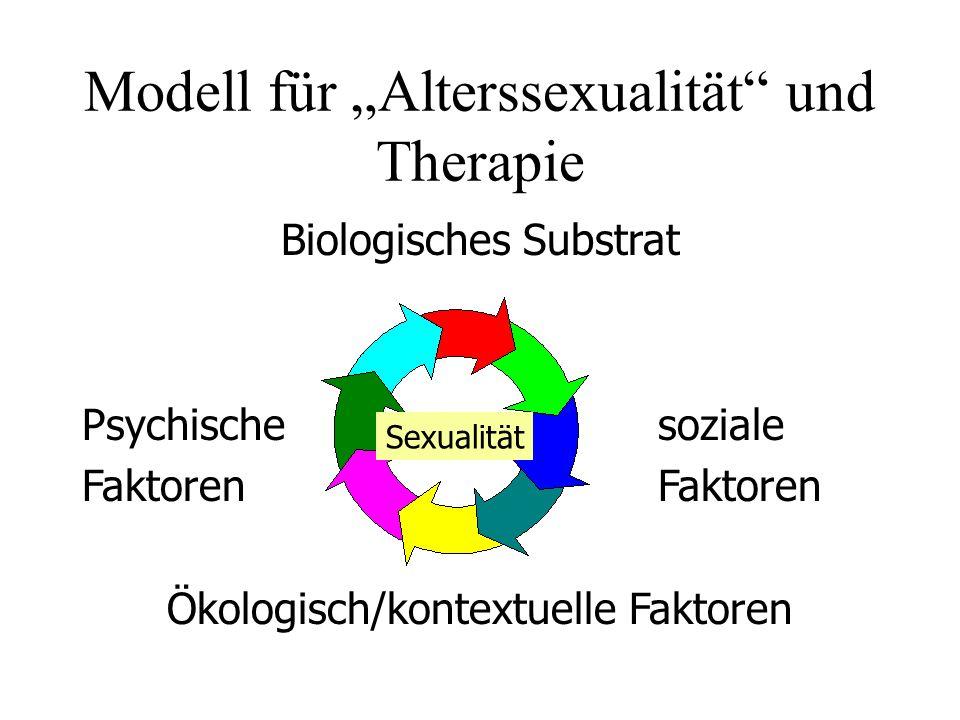 Modell für Alterssexualität und Therapie Biologisches Substrat PsychischesozialeFaktoren Ökologisch/kontextuelle Faktoren Sexualität