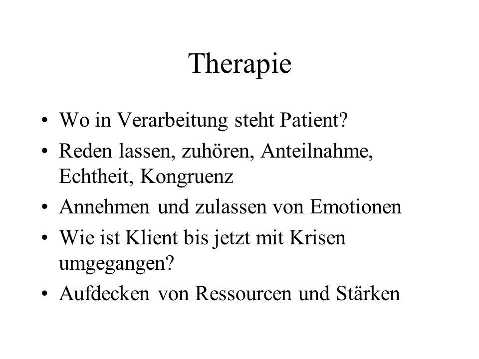 Therapie Wo in Verarbeitung steht Patient? Reden lassen, zuhören, Anteilnahme, Echtheit, Kongruenz Annehmen und zulassen von Emotionen Wie ist Klient