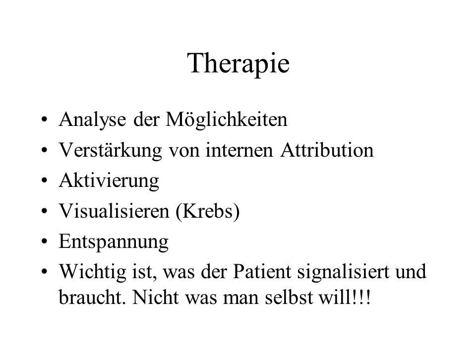 Therapie Analyse der Möglichkeiten Verstärkung von internen Attribution Aktivierung Visualisieren (Krebs) Entspannung Wichtig ist, was der Patient sig