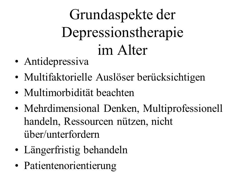 Grundaspekte der Depressionstherapie im Alter Antidepressiva Multifaktorielle Auslöser berücksichtigen Multimorbidität beachten Mehrdimensional Denken