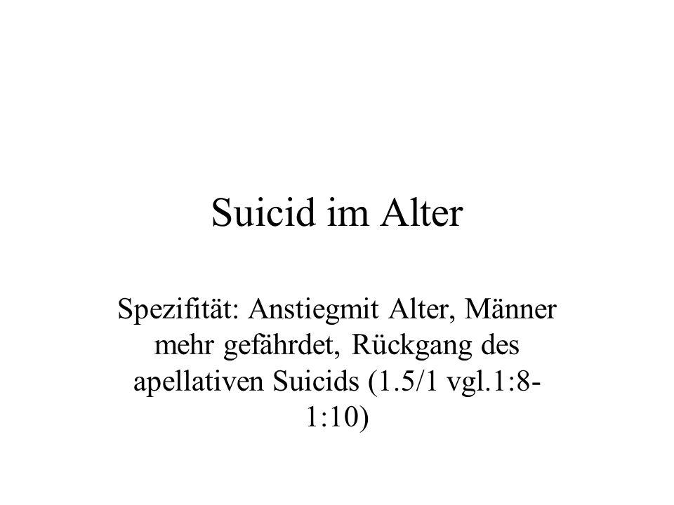 Suicid im Alter Spezifität: Anstiegmit Alter, Männer mehr gefährdet, Rückgang des apellativen Suicids (1.5/1 vgl.1:8- 1:10)
