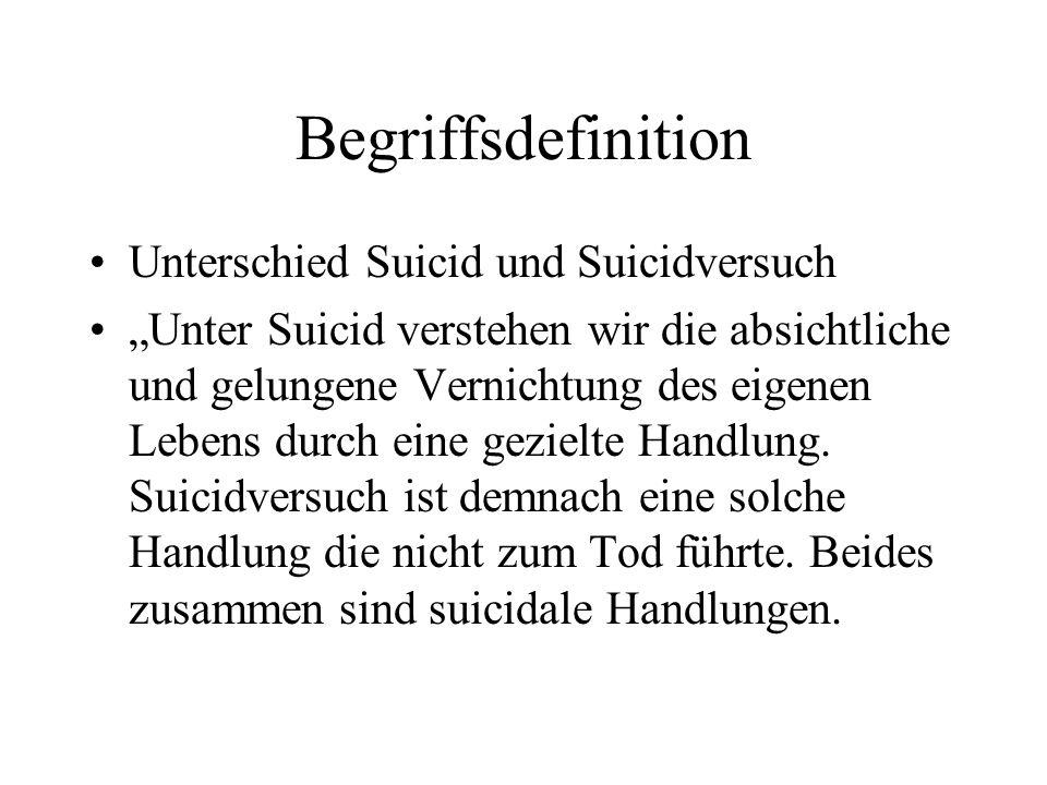Begriffsdefinition Unterschied Suicid und Suicidversuch Unter Suicid verstehen wir die absichtliche und gelungene Vernichtung des eigenen Lebens durch