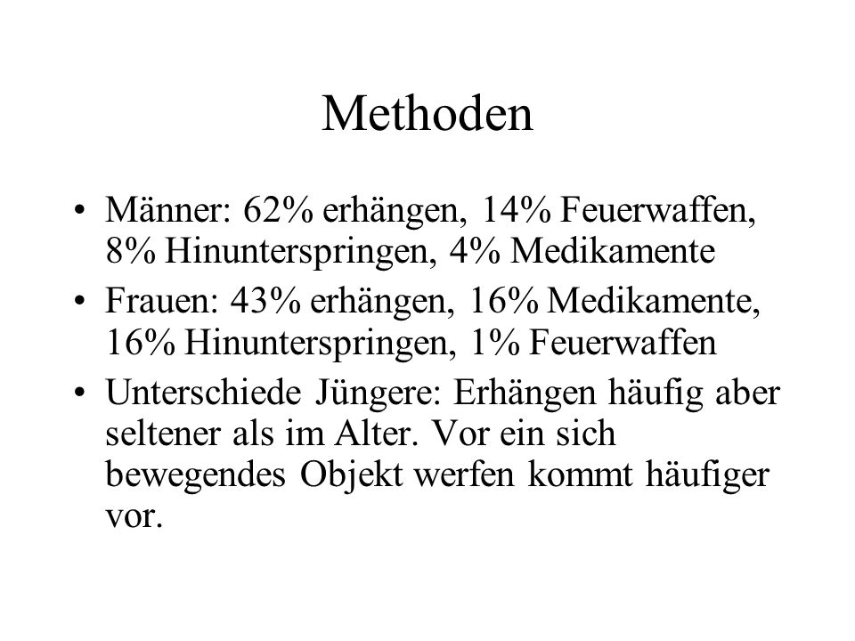 Methoden Männer: 62% erhängen, 14% Feuerwaffen, 8% Hinunterspringen, 4% Medikamente Frauen: 43% erhängen, 16% Medikamente, 16% Hinunterspringen, 1% Fe