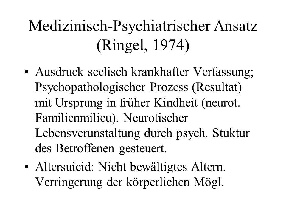 Medizinisch-Psychiatrischer Ansatz (Ringel, 1974) Ausdruck seelisch krankhafter Verfassung; Psychopathologischer Prozess (Resultat) mit Ursprung in fr
