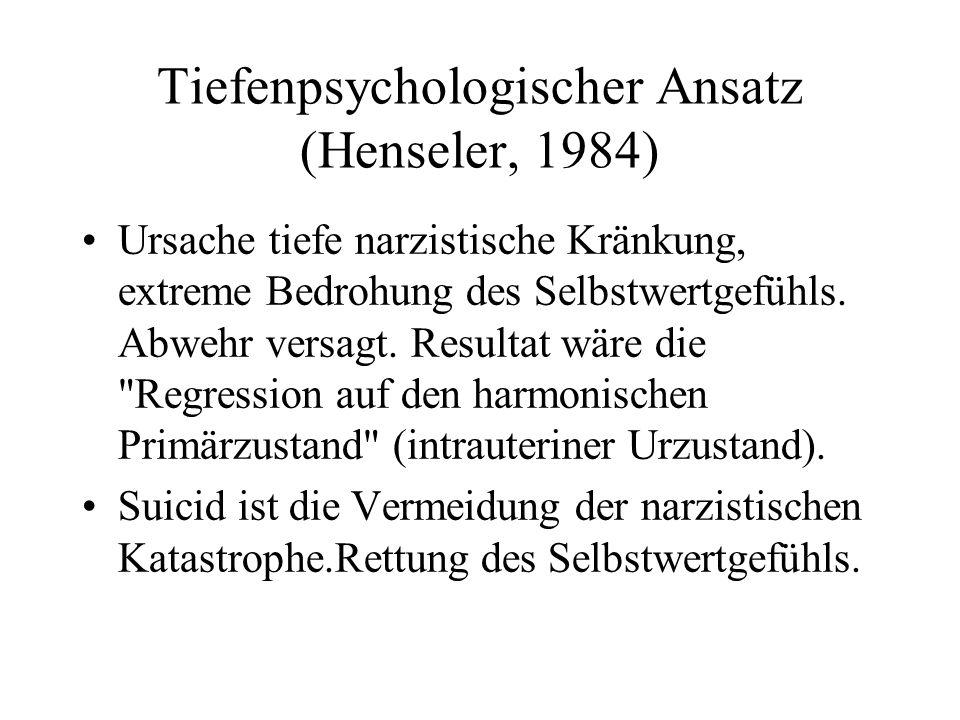 Tiefenpsychologischer Ansatz (Henseler, 1984) Ursache tiefe narzistische Kränkung, extreme Bedrohung des Selbstwertgefühls. Abwehr versagt. Resultat w
