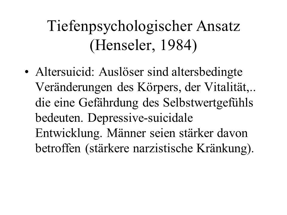 Tiefenpsychologischer Ansatz (Henseler, 1984) Altersuicid: Auslöser sind altersbedingte Veränderungen des Körpers, der Vitalität,.. die eine Gefährdun