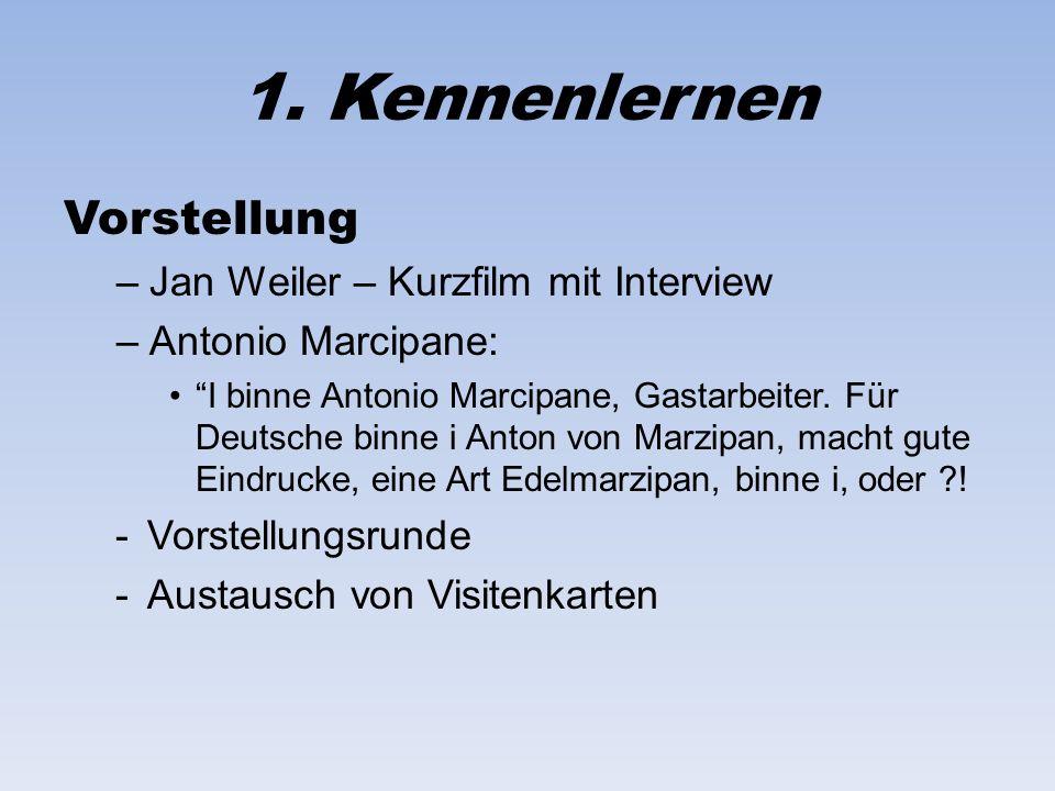 1. Kennenlernen Vorstellung –Jan Weiler – Kurzfilm mit Interview –Antonio Marcipane: I binne Antonio Marcipane, Gastarbeiter. Für Deutsche binne i Ant