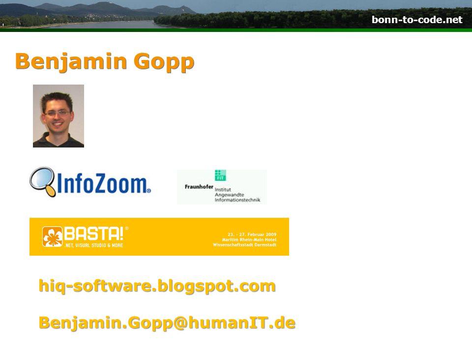 bonn-to-code.net Benjamin Gopp hiq-software.blogspot.com Benjamin.Gopp@humanIT.de