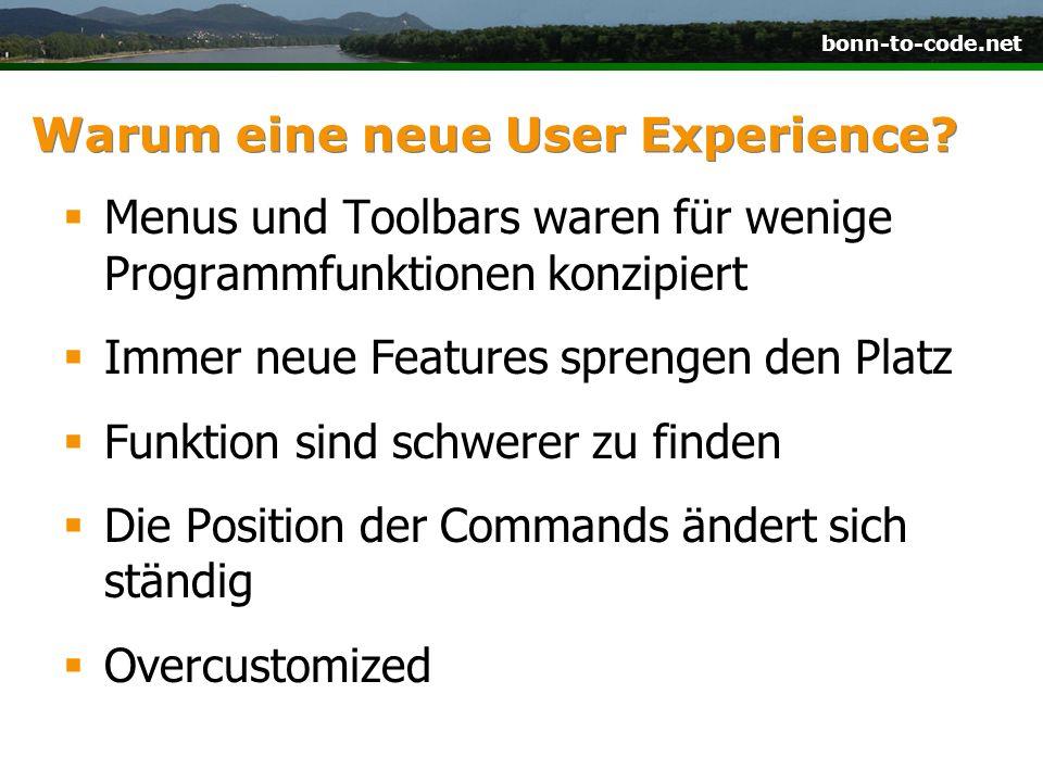 Warum eine neue User Experience? Menus und Toolbars waren für wenige Programmfunktionen konzipiert Immer neue Features sprengen den Platz Funktion sin