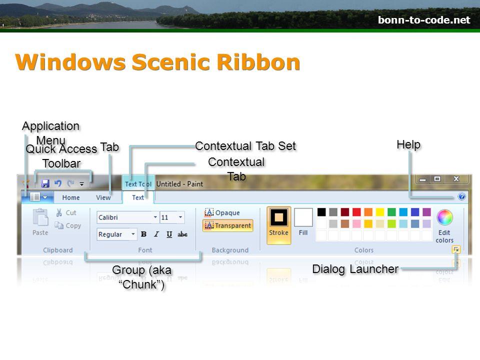 bonn-to-code.net Windows Scenic Ribbon Application Menu Quick Access Toolbar Tab Contextual Tab Set Contextual Tab Help Group (aka Chunk) Dialog Launc