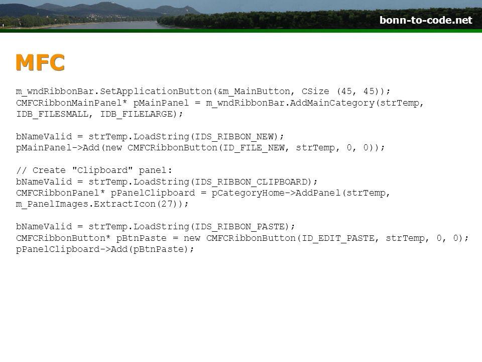 bonn-to-code.net MFC m_wndRibbonBar.SetApplicationButton(&m_MainButton, CSize (45, 45)); CMFCRibbonMainPanel* pMainPanel = m_wndRibbonBar.AddMainCateg