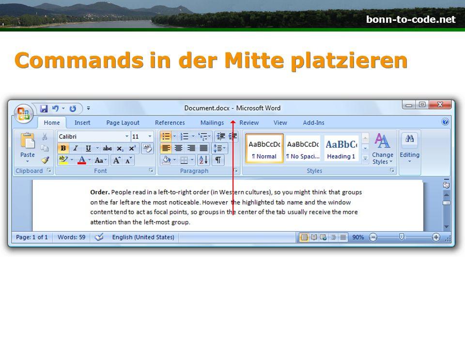 bonn-to-code.net Commands in der Mitte platzieren