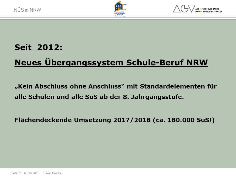 NÜS in NRW Seit 2012: Neues Übergangssystem Schule-Beruf NRW Kein Abschluss ohne Anschluss mit Standardelementen für alle Schulen und alle SuS ab der